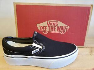 Vans Classic Slip-On Platform Black/White Skateboarding Shoes for Women