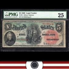 1869 $5 Legal Tender *RAINBOW WOODCHOPPER*  PMG 25 Fr 64  K1198340