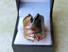 Art Deco style Silver w/ Brown & Gold Fleck Hand Blown Glass Bling Ring size 8
