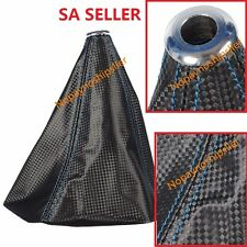 UNIVERSAL JDM BLU STITCH BLACK 3D CARBON FIBER LOOK PU SHIFTER SHIFT BOOT COVER