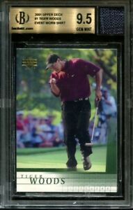 Tiger Woods 2001 Upper Deck Golf Rookie Card RC BGS 9.5 w/10 Sub Game Worn Patch