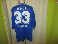 """FC Schalke 04 Adidas Heim Trikot 1996/97 """"Kärcher"""" + Nr.33 Wolf Gr.XXL TOP"""