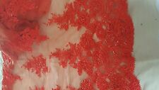 Heavily beaded high Quality Coral Bridal French Lace Fabric 1/2 yard .