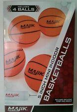 "Majik 4 Rubber Mini Toy Basketballs 5"" Indoor Pump Needle Sports Game"