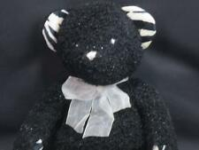 BESTEVER BLACK SPARKLE TEDDY BEAR ZEBRA PRINT FEET EARS HANDS PLUSH STUFFED 16""