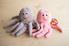 Rare set of two Inky Beanie Babies grey and pink mint