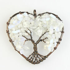 White Opal Opalite Chips Beads Tree of Life Reiki Chakra Copper Heart Pendant