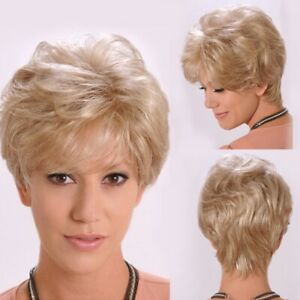 Fashion Gold Blonde Synthetic Hair Women Natural Curly Full Wig Party Wavy Wigs