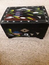 Antique vintage Chinese Japanese musical jewellery box 7x5 inch