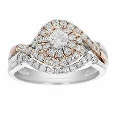 7/8 CT Diamond Wedding Engagement Ring Set 14K Two Tone Gold Size 7