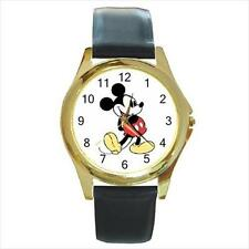 New Mickey Mouse #1 Gold-Tone Leather Band Quartz Watch