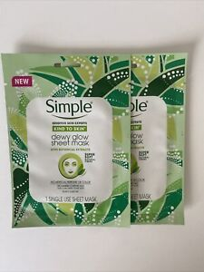 2 Simple sensitive skin DEWY GLOW SHEET MASK Kind botanical extracts