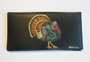 Wild Turkey Hunter's Checkbook Cover Hand Painted Leather