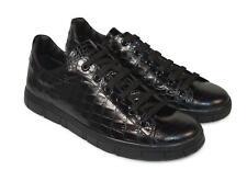 A.Testoni Men black sport shoes crocodile pattern leather Sneakers 12 US NEW