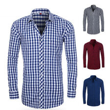 2019 New Men's BUSINESS BUTTON DOWN LONG SLEEVE Check Casual Dress Shirts GT403