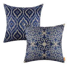 Blue and White Porcelain Cotton Linen Pillow Case Cushion Cover Home Decor Ikat