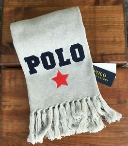 POLO RALPH LAUREN Varsity Star Grey Heather Knitted Double Layered Scarf - BNWT
