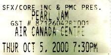 Pearl Jam Ticket Stub. Oct. 5, 2000 Air Canada Ctr., Toronto The Binaural Tour.