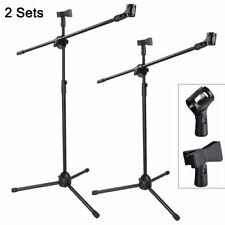 2X Professional Microphone Mic Stand Boom Holder Mount Adjustable Tripod&4 Clips