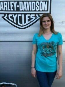 Harley-Davidson® Women's Green Skull Motorcycle T-Shirt Preston England Small