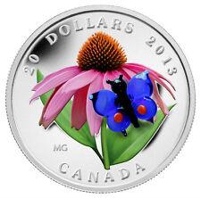 Canada 2013 $20 Fine Silver Coin - Purple Coneflower w/ Venetian Glass Butterfly