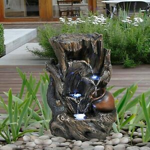 Garden Water Feature LED Fountain Indoor/Outdoor Cascading Freestanding Perfect