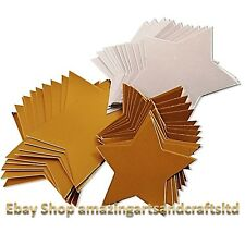 50 Gold And Silver Card Stars 3 Sizes Crafts Tags Decoration 12cm 10cm 8cm