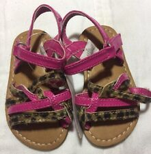Koala Kids 3 Sandals Pink Girls Leopard Patent Leather Baby Infant Toddler NEW