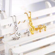 L/P 1 Set Edelstahl Ohrstecker Halskette Anhänger Brushed Band Tonzeichen M16181