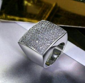 Men's Bold & Brilliant Wedding Engagement Ring 5 Ct VVS1 Diamond 14K White Gold