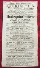 CLOWN JOSEPH GRIMALDI in HARLEQUIN GULLIVER - RARE 1818 BROADSIDE