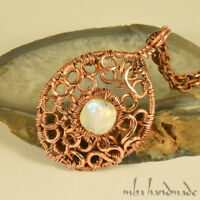 Natural Rainbow Moonstone Crystal Necklace Wire Wrapped Artisan Jewelry