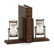 Antique Look Wooden Bookend Pair Of Sand Timer Replica gift item Office decor