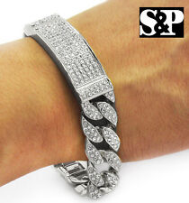 Men's Hip Hop White Gold PT Fully Cz Iced Out Cuban Style Link Rapper's Bracelet