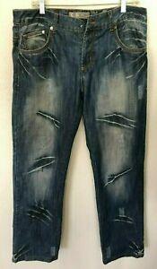 **PRE-OWNED**K & M Kosmo Lupo Italian Men's Jeans Distressed Denim, Blue, 36