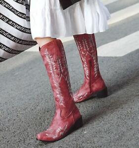 Western Retro Women Thick-Heel Zipper Round-Toe Cowboy Mid-Calf Knee-Length Boot