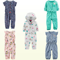 New Carter's Baby Girls' Jumpsuit One Piece - Floral - Chambray -Print Coverall