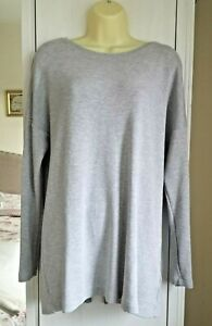 Ladies Jaeger Casual Sweat Top Jumper Sweater Boxy Long Size XL Grey Stretch