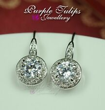 18K White Gold Plated Round Cut  Dangle Earrings Made With Swarovski Crystal