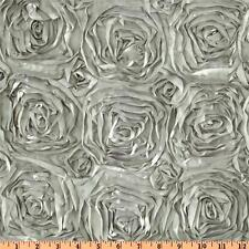 "10 Silver 54""x54"" Rosette Rose Satin 3D Table Overlays Tablecloths Event Wedding"