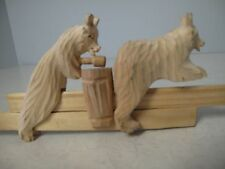 Russian Hand Carved Wood 2 Bears moving toy Builder Hammer Bogorodskaia Игрушка