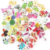 Lots 50Pc Mixed Bulk Animal Wooden Sewing Buttons Scrapbook Hole DIY Craft O1X6