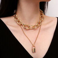 Punk Double Layer Long Chain Geometry Lock Pendant Choker Necklace Jewelry Gift