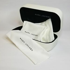New Authentic Marc Jacobs Off-White Sunglasses Case with Pouch & Cleaning Cloth