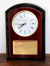 Bulova Black Cherry Wood Brass Achievement Roman Numerals Engraving Wall Clock