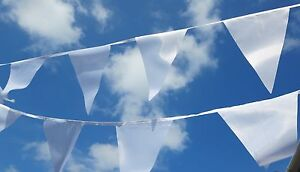 Christening Bunting - Luxury white fabric bunting 90ft 100 flags 1st Class Post
