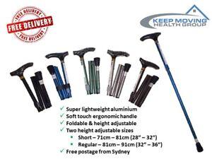 Soft Touch Aluminium Folding Walking Stick Cane - Range of Colours - 2 Sizes
