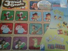 Disney Junior 3 Wood Games Storage Box Jake Neverland Dominoes Memory Match