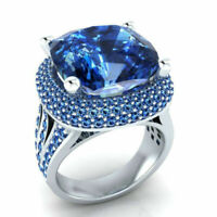 Turkish Handmade 925 Silver Zircon Sapphire Ring Wedding Jewelry Gift Size 6-10