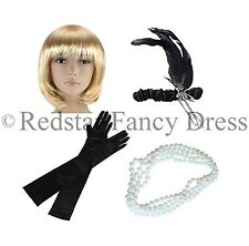 LADIES CHARLESTON WIG HEADBAND PEARLS & BLACK GLOVES 1920'S FLAPPER FANCY DRESS